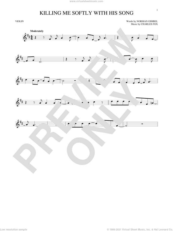 Killing Me Softly With His Song sheet music for violin solo by Roberta Flack, Charles Fox and Norman Gimbel, intermediate skill level