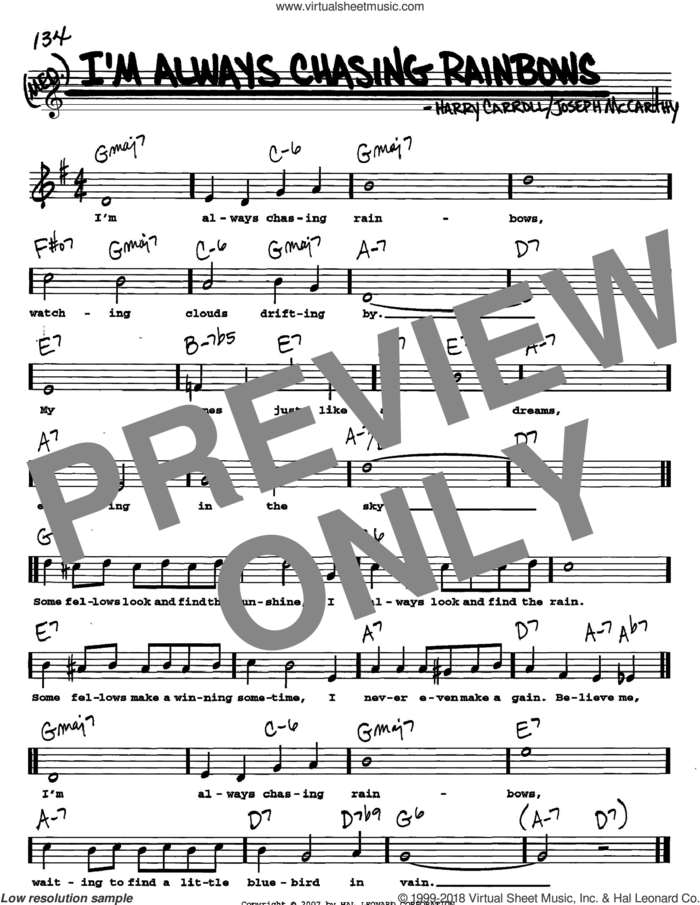 I'm Always Chasing Rainbows sheet music for voice and other instruments  by Joseph McCarthy and Harry Carroll, intermediate skill level