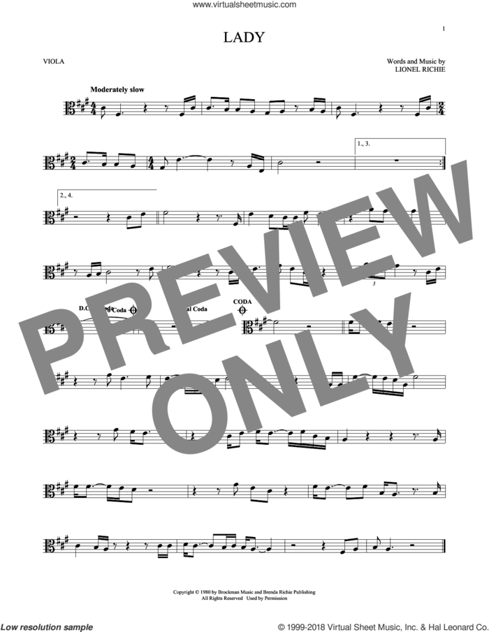 Lady sheet music for viola solo by Kenny Rogers and Lionel Richie, intermediate skill level