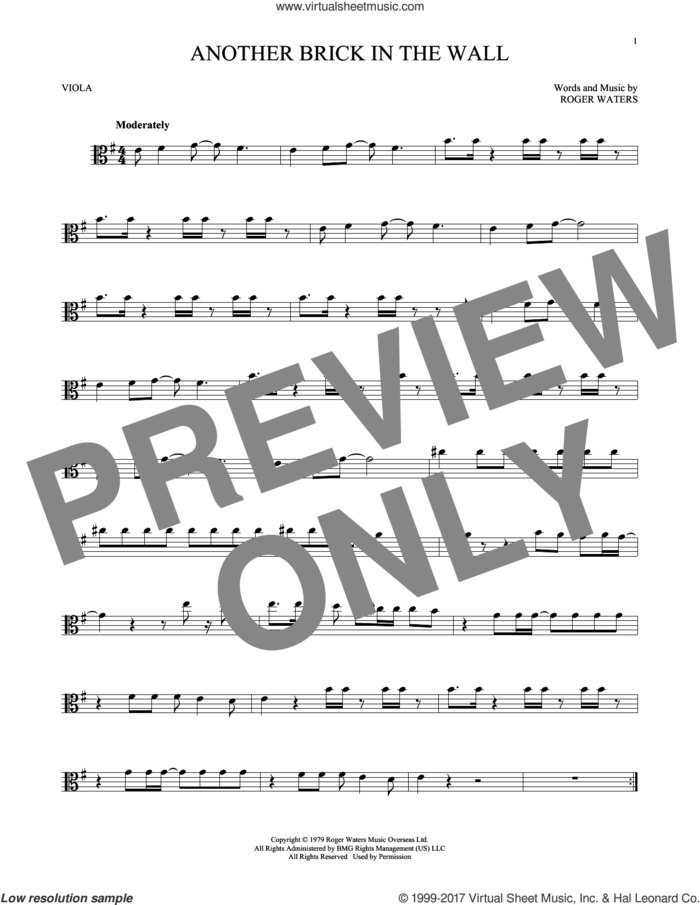 Another Brick In The Wall sheet music for viola solo by Pink Floyd and Roger Waters, intermediate skill level