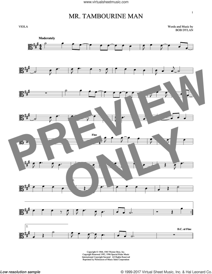 Mr. Tambourine Man sheet music for viola solo by Bob Dylan, intermediate skill level