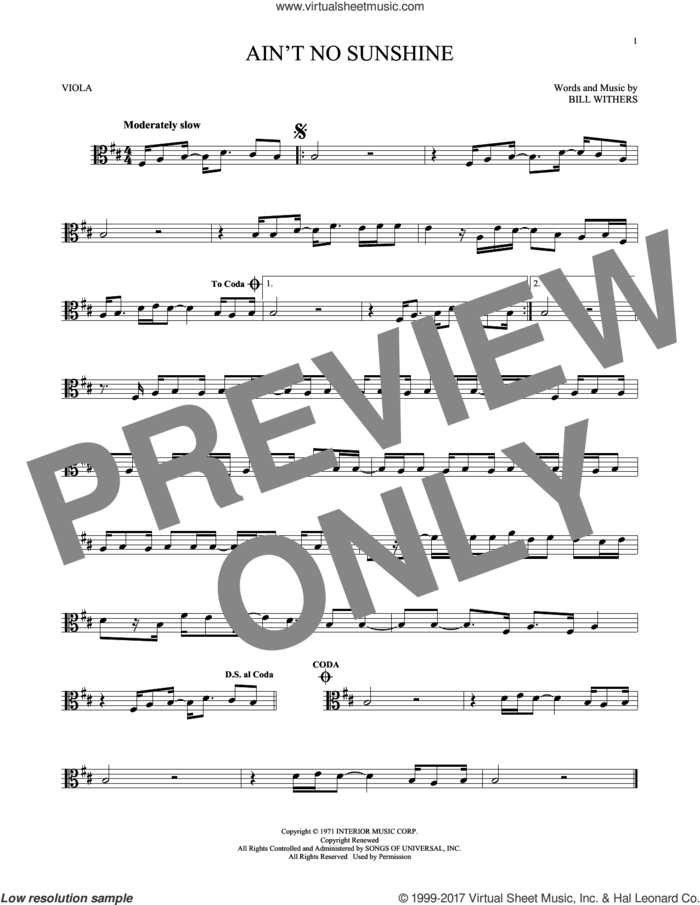 Ain't No Sunshine sheet music for viola solo by Bill Withers and Kris Allen, intermediate skill level