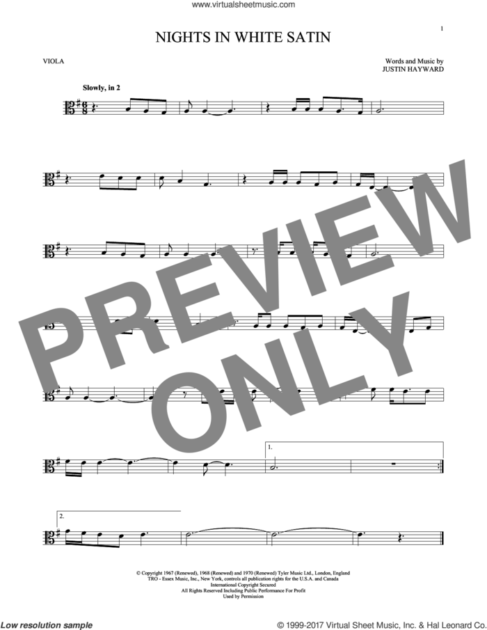 Nights In White Satin sheet music for viola solo by The Moody Blues and Justin Hayward, intermediate skill level