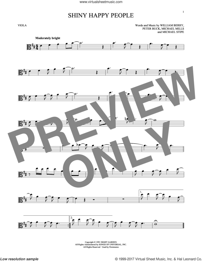 Shiny Happy People sheet music for viola solo by R.E.M., Michael Stipe, Mike Mills, Peter Buck and William Berry, intermediate skill level