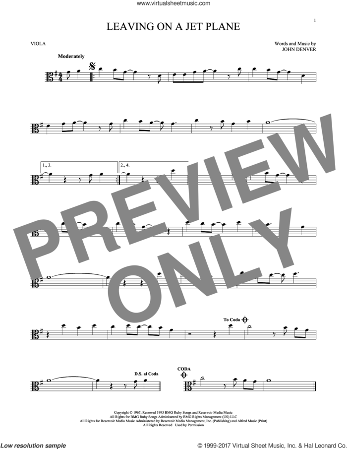 Leaving On A Jet Plane sheet music for viola solo by John Denver and Peter, Paul & Mary, intermediate skill level