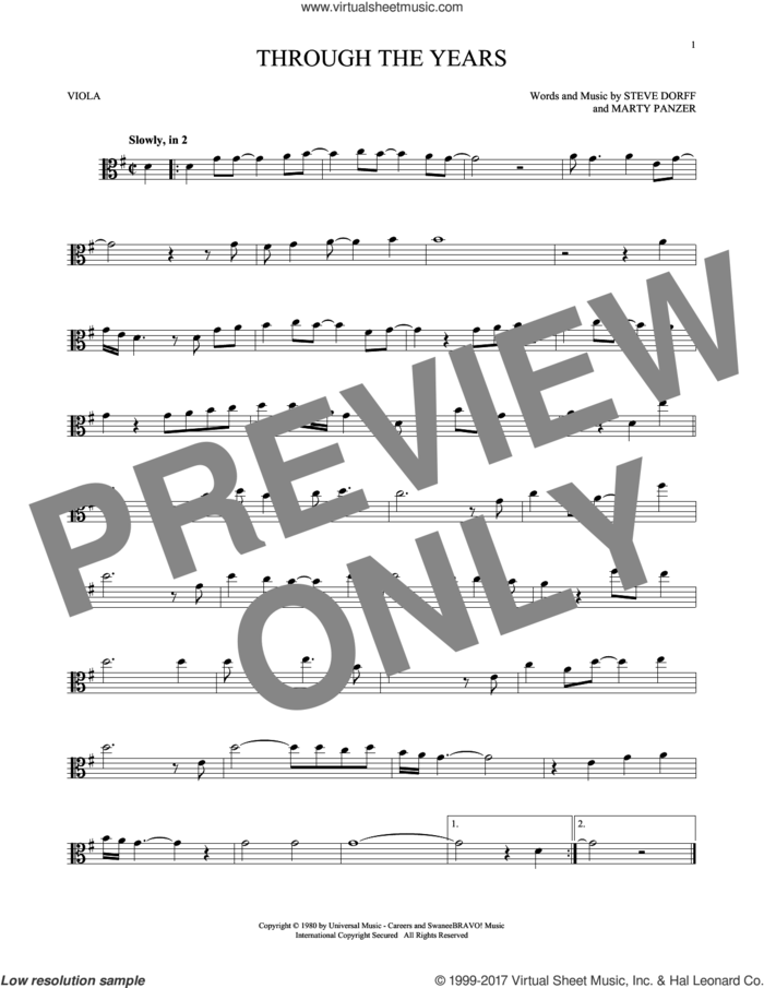 Through The Years sheet music for viola solo by Kenny Rogers, Marty Panzer and Steve Dorff, intermediate skill level