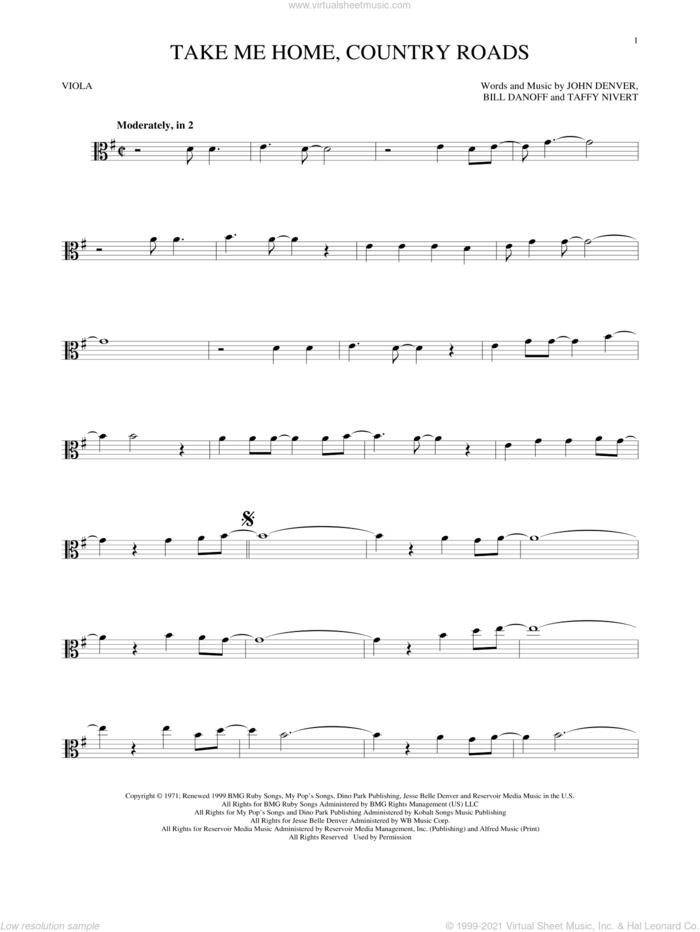 Take Me Home, Country Roads sheet music for viola solo by John Denver, Bill Danoff and Taffy Nivert, intermediate skill level