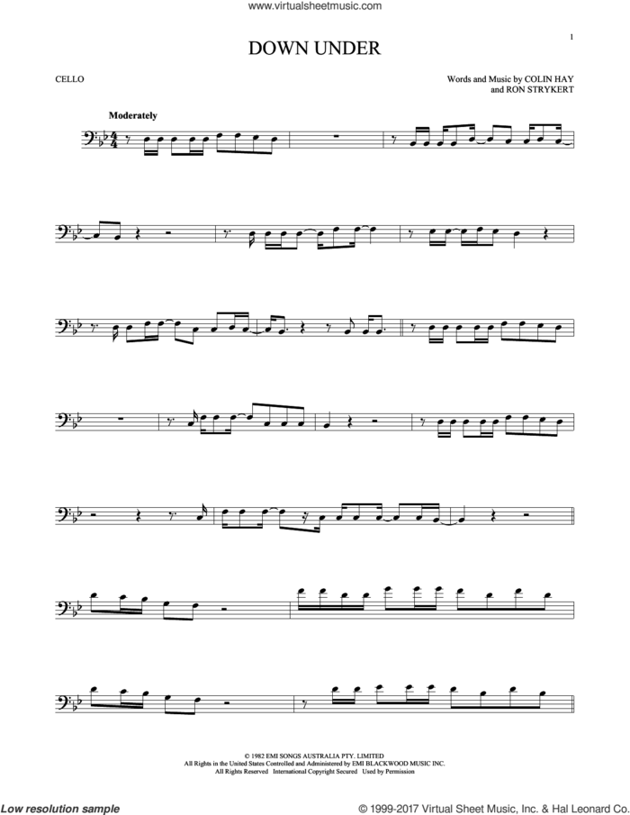Down Under sheet music for cello solo by Men At Work, Colin Hay and Ron Strykert, intermediate skill level