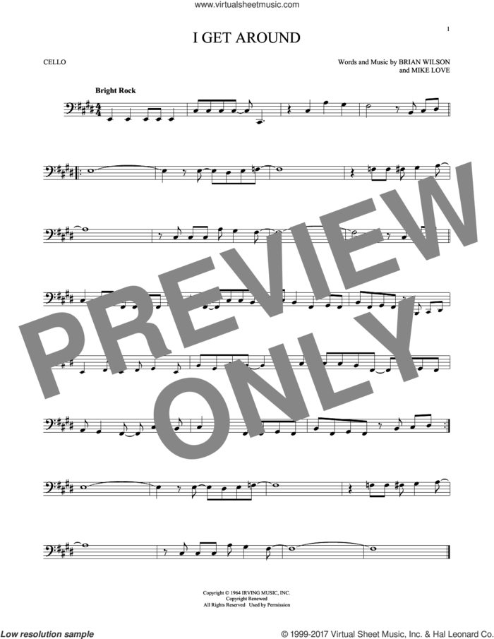 I Get Around sheet music for cello solo by The Beach Boys, Brian Wilson and Mike Love, intermediate skill level