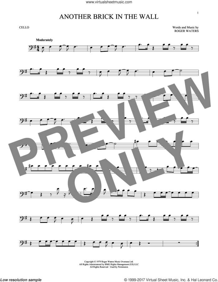 Another Brick In The Wall sheet music for cello solo by Pink Floyd and Roger Waters, intermediate skill level
