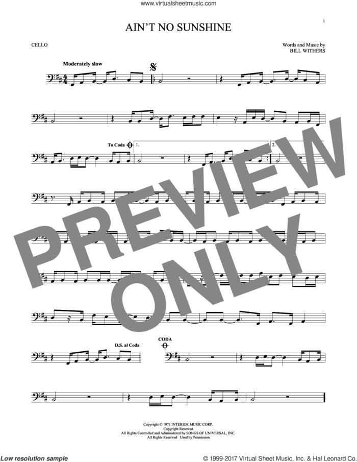 Ain't No Sunshine sheet music for cello solo by Bill Withers, intermediate skill level