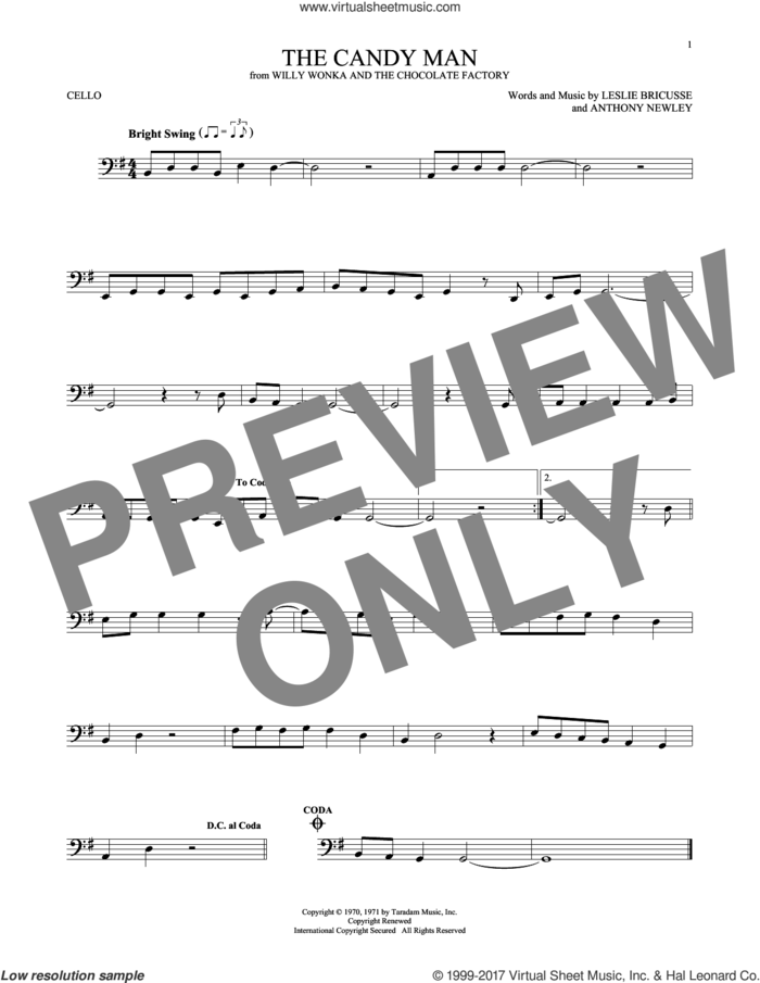 The Candy Man sheet music for cello solo by Leslie Bricusse, Sammy Davis, Jr. and Anthony Newley, intermediate skill level