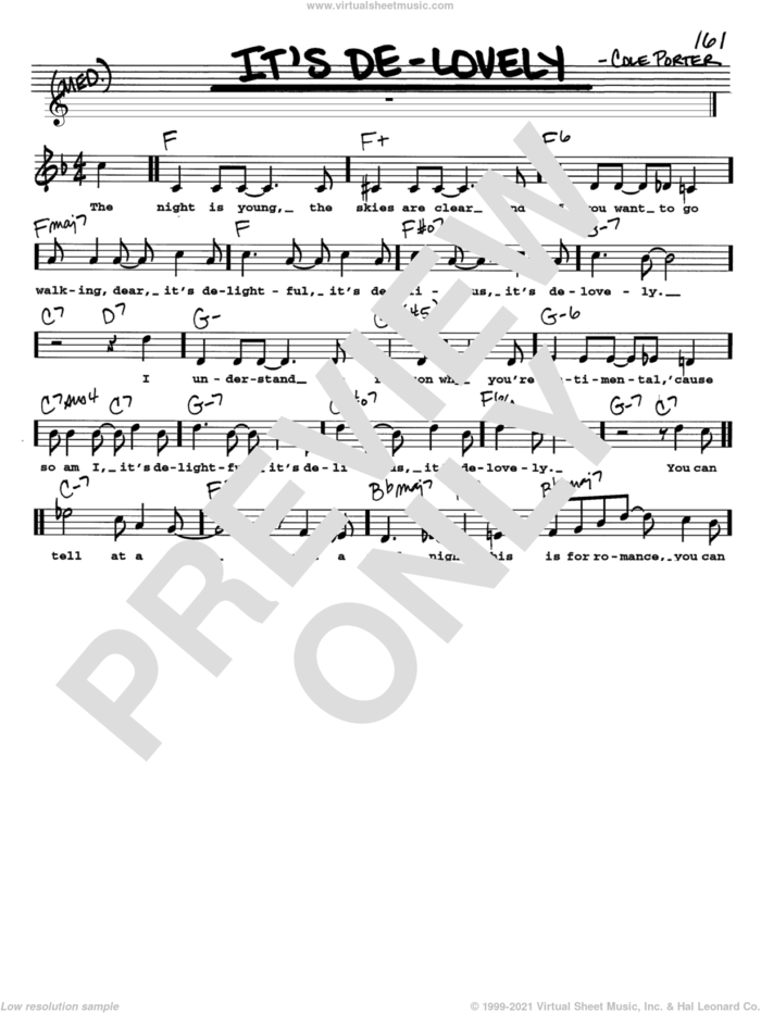 It's De-Lovely sheet music for voice and other instruments  by Cole Porter, intermediate skill level