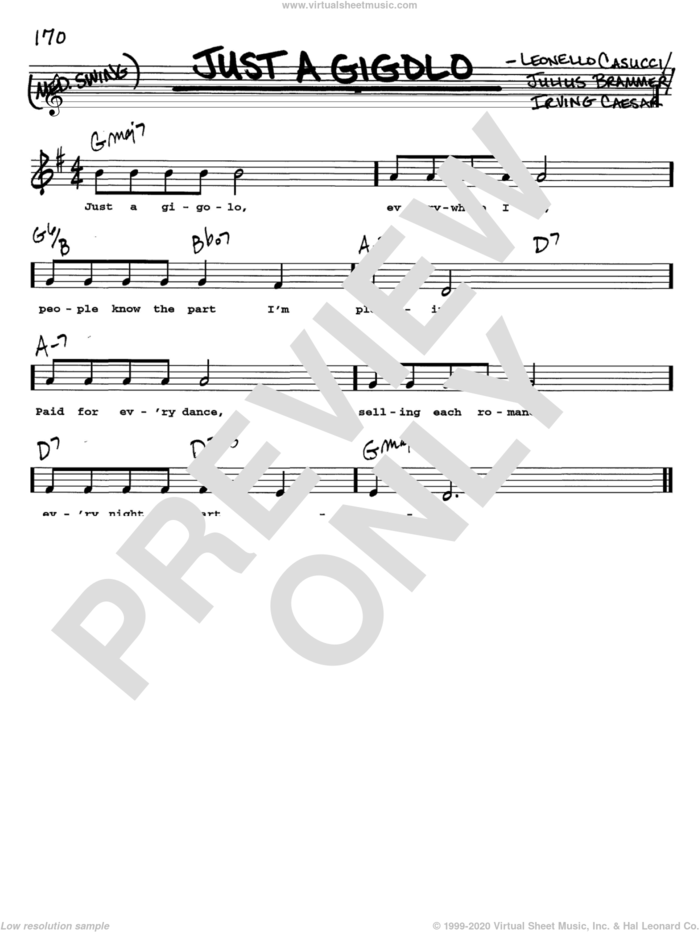 Just A Gigolo sheet music for voice and other instruments  by Louis Armstrong, Irving Caesar, Julius Brammer and Leonello Casucci, intermediate skill level