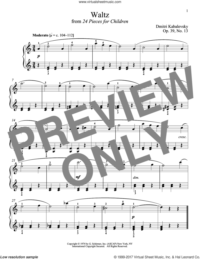 Waltz, Op. 39, No. 13 sheet music for piano solo by Dmitri Kabalevsky and Richard Walters, classical score, intermediate skill level