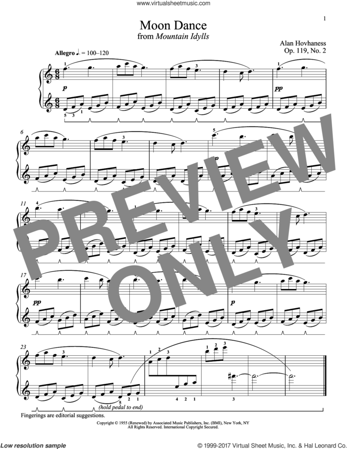 Moon Dance sheet music for piano solo by Alan Hovhaness and Richard Walters, classical score, intermediate skill level