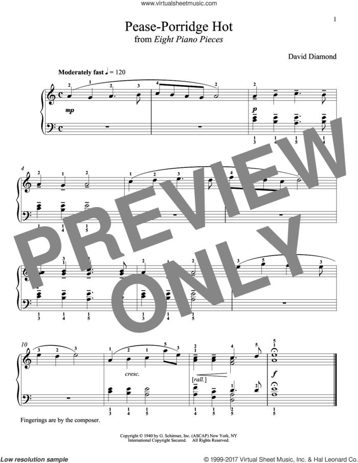 Pease-Porridge Hot sheet music for piano solo by David Diamond and Richard Walters, classical score, intermediate skill level