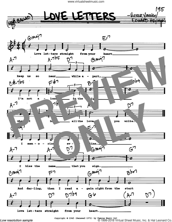 Love Letters sheet music for voice and other instruments  by Edward Heyman and Victor Young, intermediate skill level