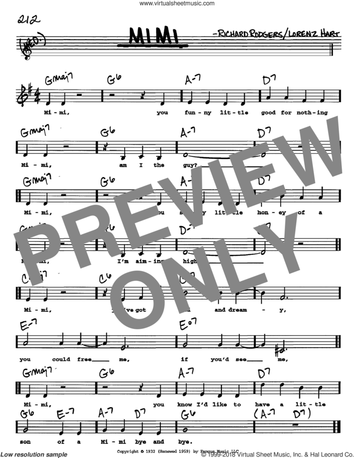 Mimi sheet music for voice and other instruments  by Rodgers & Hart, Lorenz Hart and Richard Rodgers, intermediate skill level