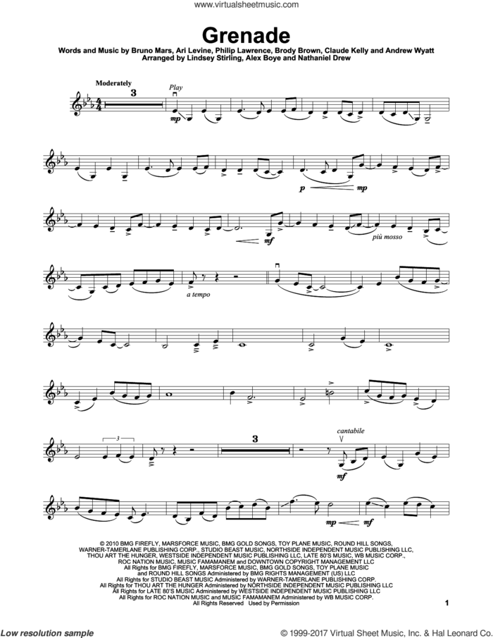 Grenade sheet music for violin solo by Lindsey Stirling, Andrew Wyatt, Ari Levine, Brody Brown, Bruno Mars, Claude Kelly and Philip Lawrence, intermediate skill level