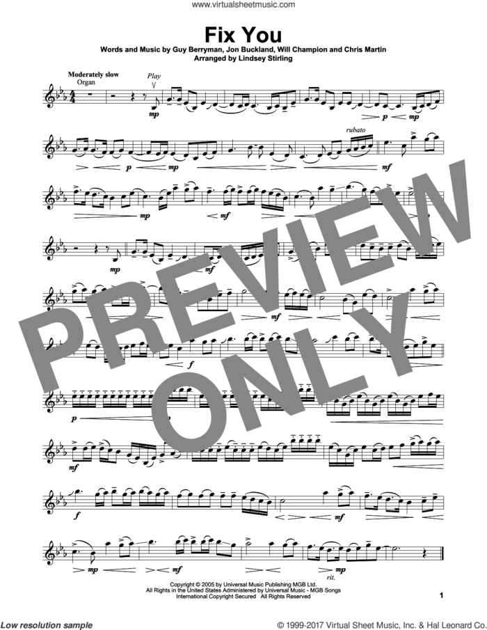 Fix You sheet music for violin solo by Lindsey Stirling, Coldplay, Javier Colon, Chris Martin, Guy Berryman, Jon Buckland and Will Champion, intermediate skill level