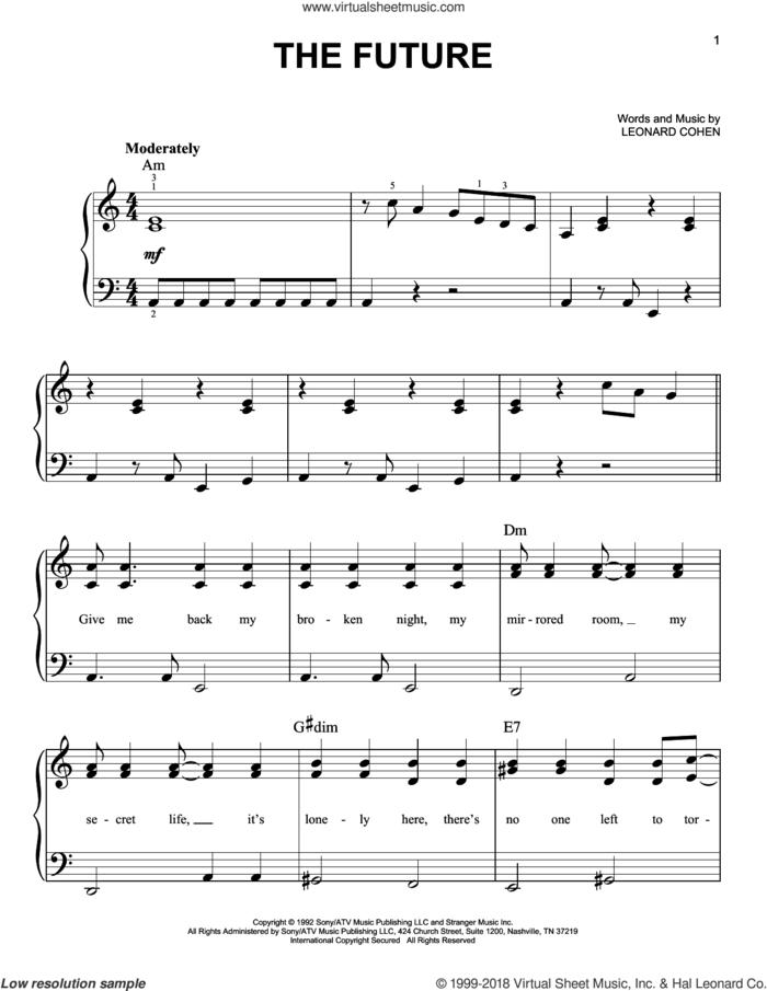 The Future sheet music for piano solo by Leonard Cohen, easy skill level