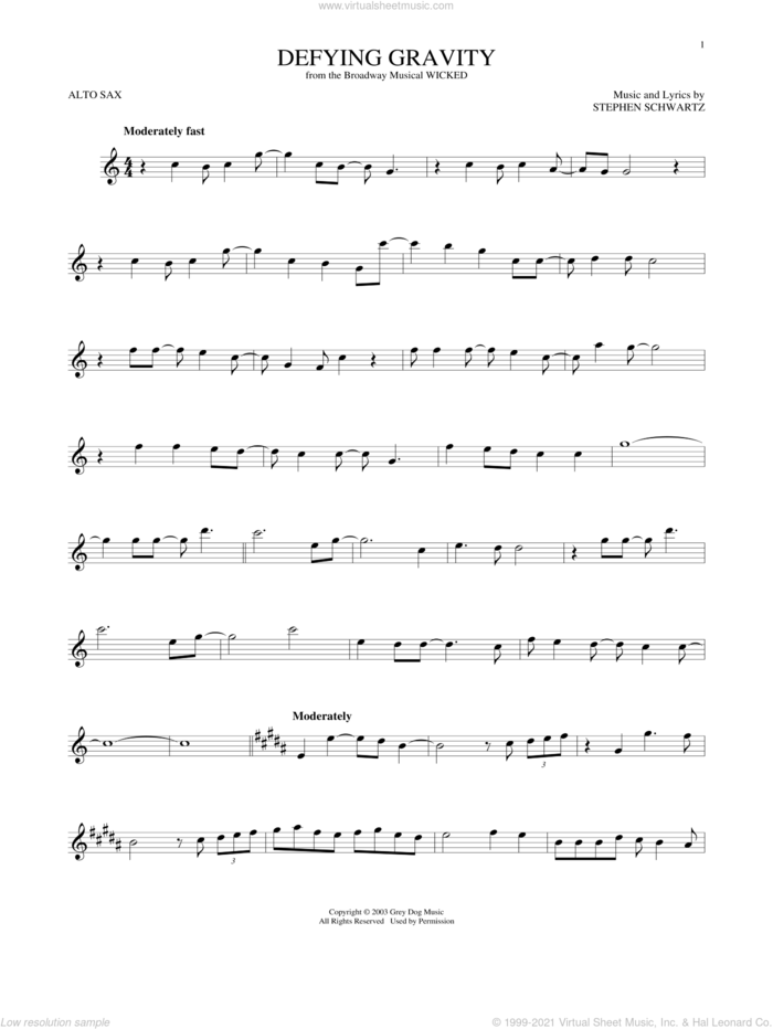 Defying Gravity (from Wicked) sheet music for alto saxophone solo by Stephen Schwartz, intermediate skill level