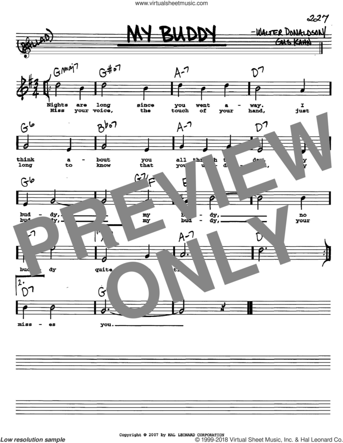 My Buddy sheet music for voice and other instruments  by Gus Kahn and Walter Donaldson, intermediate skill level