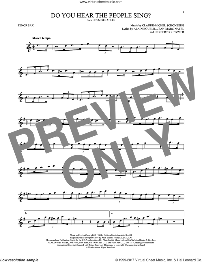 Do You Hear The People Sing? sheet music for tenor saxophone solo by Alain Boublil, Claude-Michel Schonberg, Claude-Michel Schonberg, Herbert Kretzmer and Jean-Marc Natel, intermediate skill level