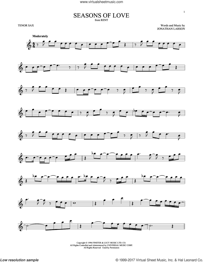 Seasons Of Love (from Rent) sheet music for tenor saxophone solo by Jonathan Larson and Cast of Rent, intermediate skill level