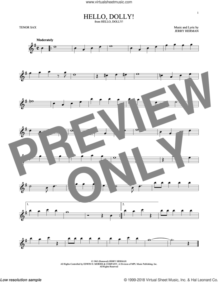 Hello, Dolly! sheet music for tenor saxophone solo by Louis Armstrong and Jerry Herman, intermediate skill level