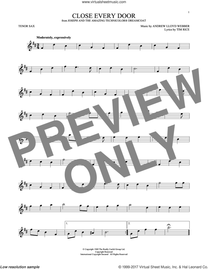 Close Every Door (from Joseph and the Amazing Technicolor Dreamcoat) sheet music for tenor saxophone solo by Andrew Lloyd Webber and Tim Rice, intermediate skill level