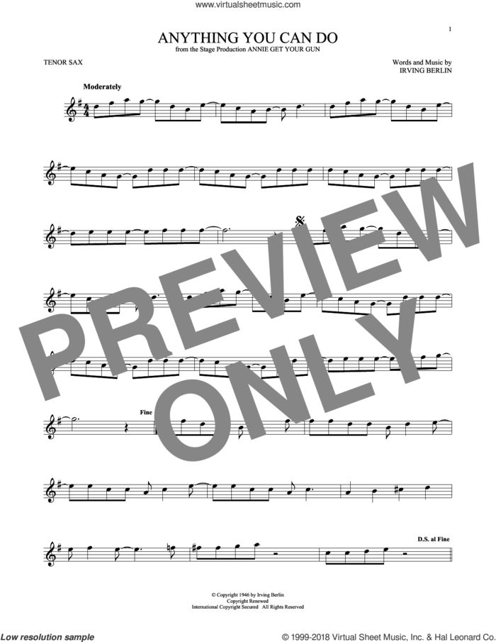 Anything You Can Do (from Annie Get Your Gun) sheet music for tenor saxophone solo by Irving Berlin, intermediate skill level