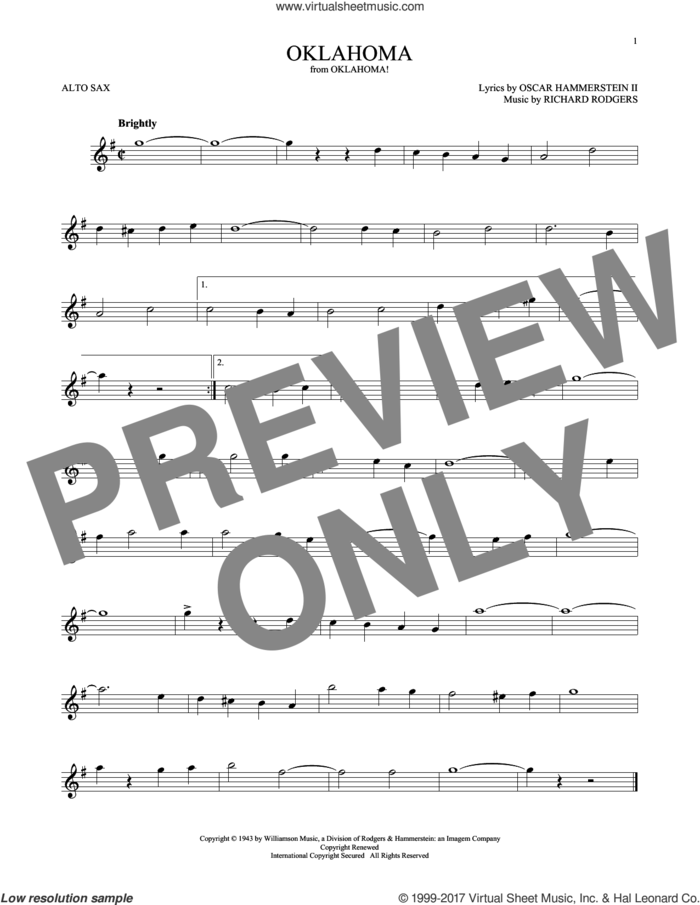 Oklahoma (from Oklahoma!) sheet music for alto saxophone solo by Rodgers & Hammerstein, Oscar II Hammerstein and Richard Rodgers, intermediate skill level