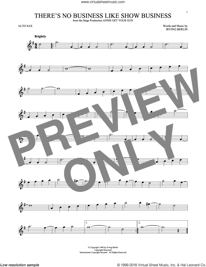 There's No Business Like Show Business sheet music for alto saxophone solo by Irving Berlin, intermediate skill level