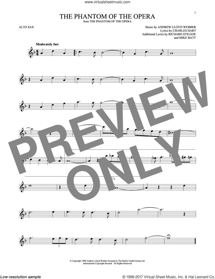 The Phantom Of The Opera sheet music for alto saxophone solo by Andrew Lloyd Webber, Charles Hart, Mike Batt and Richard Stilgoe, intermediate skill level