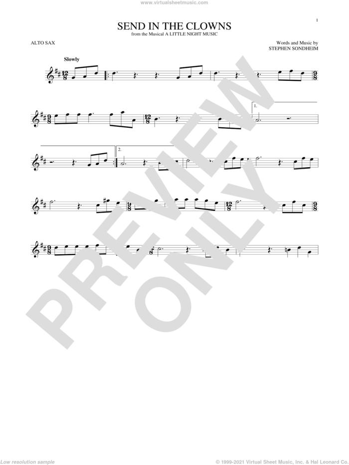 Send In The Clowns sheet music for alto saxophone solo by Stephen Sondheim, intermediate skill level