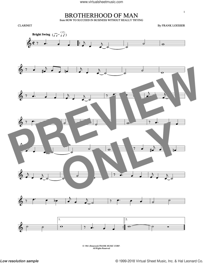 Brotherhood Of Man sheet music for clarinet solo by Frank Loesser, intermediate skill level