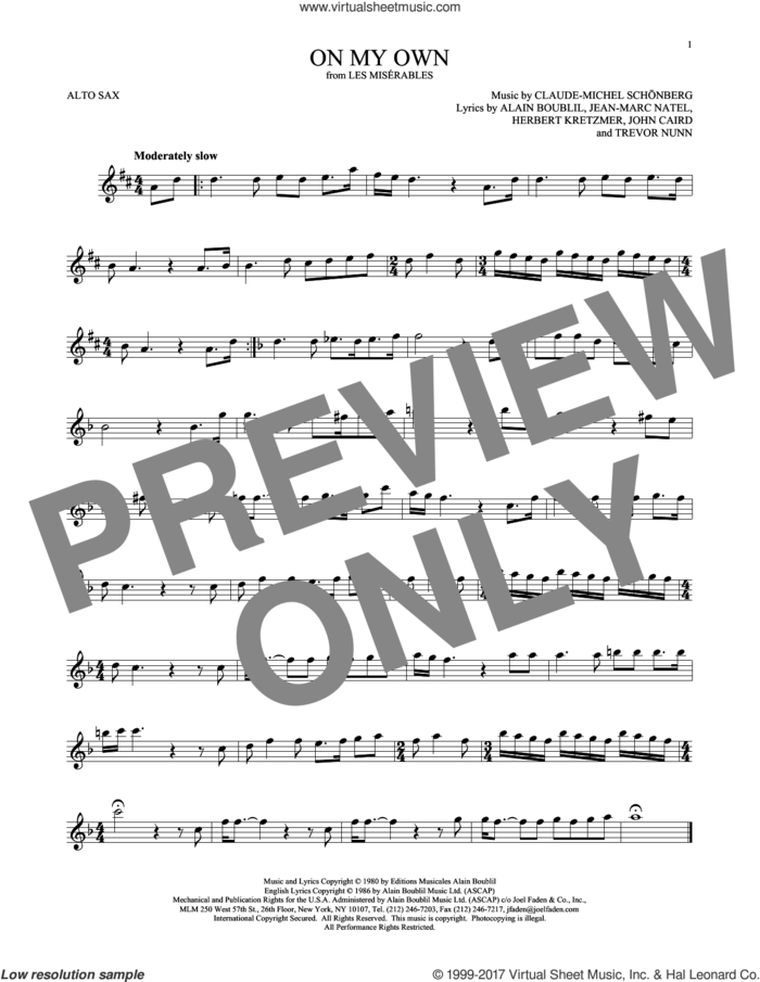 On My Own (from Les Miserables) sheet music for alto saxophone solo by Alain Boublil, Claude-Michel Schonberg, Claude-Michel Schonberg, Herbert Kretzmer, Jean-Marc Natel, John Caird and Trevor Nunn, intermediate skill level