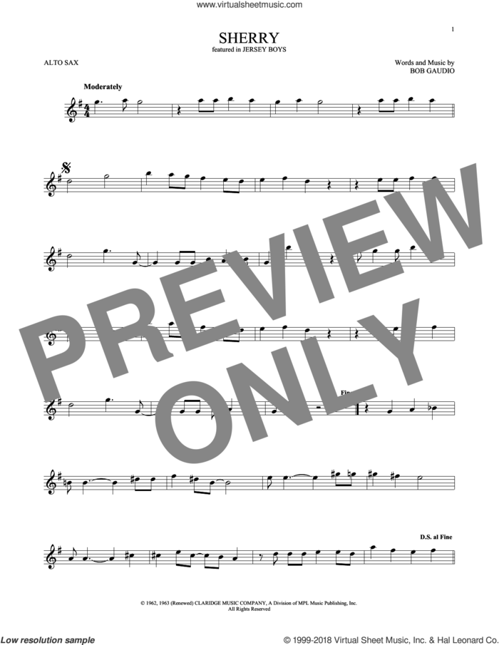 Sherry sheet music for alto saxophone solo by The Four Seasons and Bob Gaudio, intermediate skill level