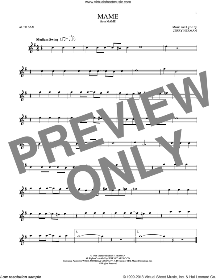 Mame sheet music for alto saxophone solo by Jerry Herman, intermediate skill level
