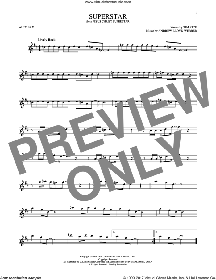 Superstar (from Jesus Christ Superstar) sheet music for alto saxophone solo by Andrew Lloyd Webber, Murray Head w/Trinidad Singers and Tim Rice, intermediate skill level