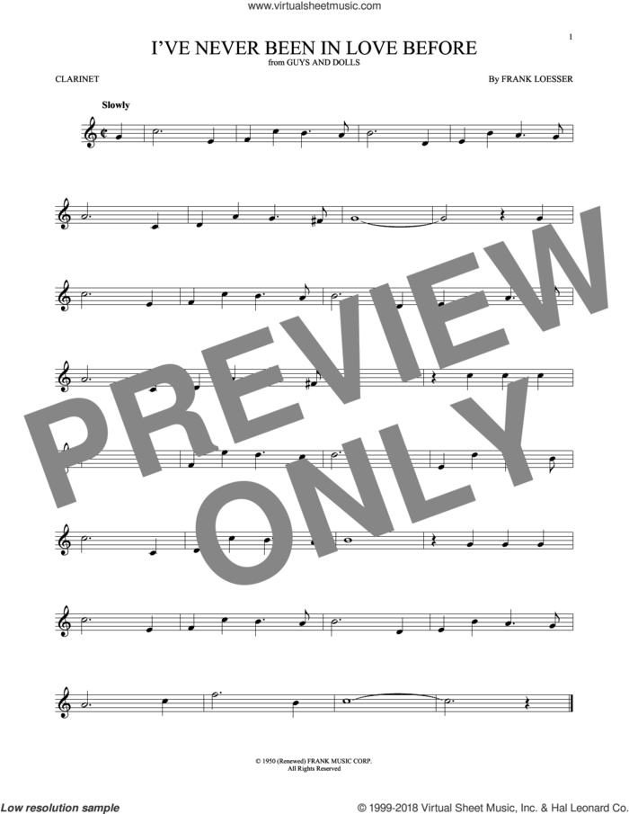 I've Never Been In Love Before sheet music for clarinet solo by Frank Loesser, Billy Eckstine, Chet Baker and Stan Kenton, intermediate skill level