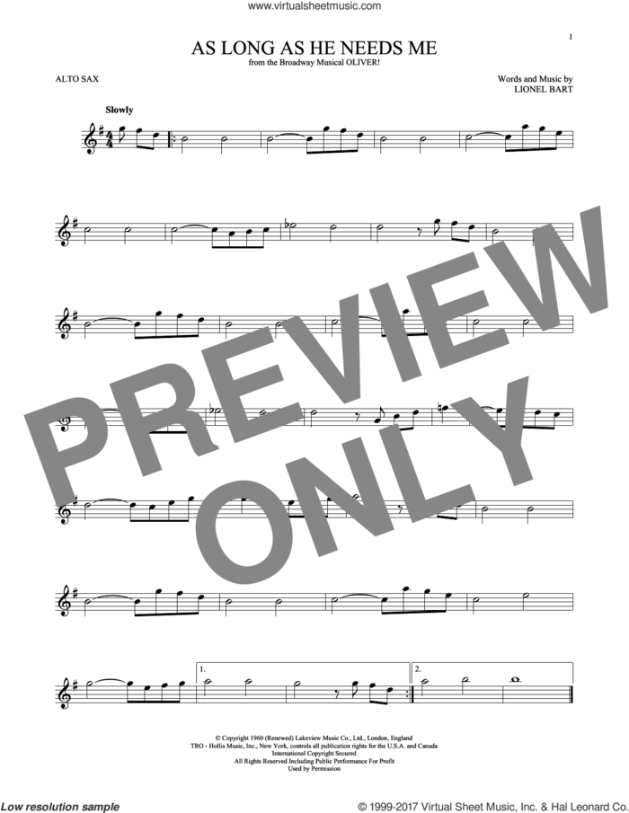 As Long As He Needs Me sheet music for alto saxophone solo by Lionel Bart, intermediate skill level