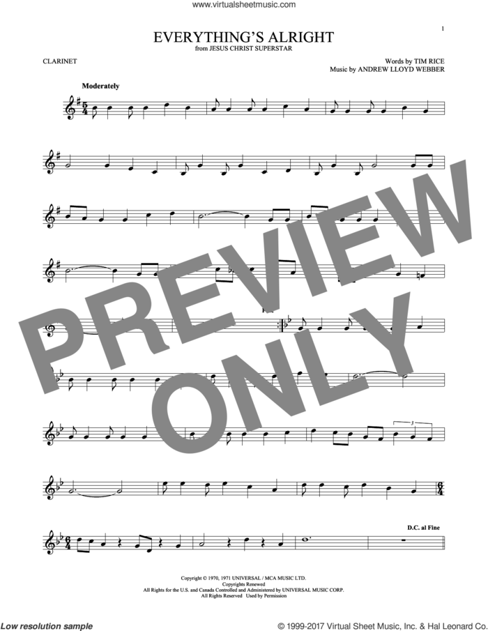 Everything's Alright (from Jesus Christ Superstar) sheet music for clarinet solo by Andrew Lloyd Webber, Yvonne Elliman and Tim Rice, intermediate skill level