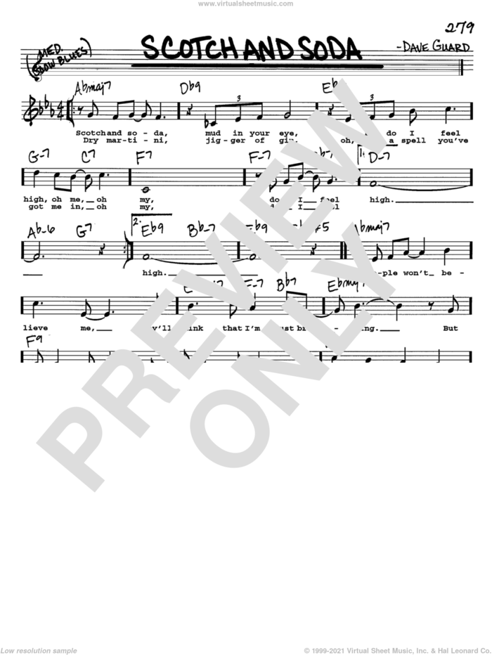 Scotch And Soda sheet music for voice and other instruments  by The Kingston Trio and Dave Guard, intermediate skill level