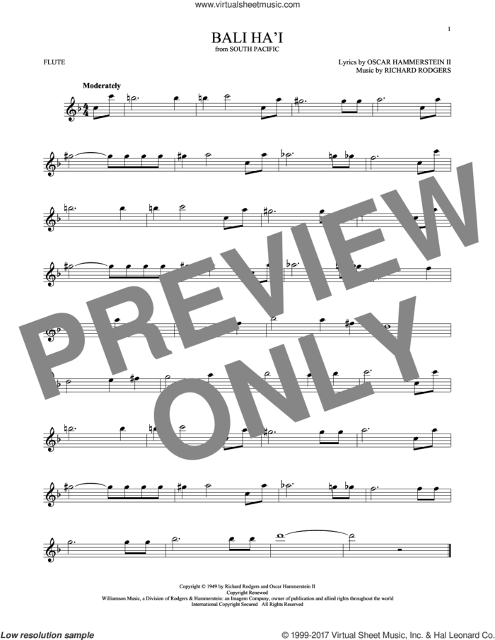 Bali Ha'i sheet music for flute solo by Rodgers & Hammerstein, Oscar II Hammerstein and Richard Rodgers, intermediate skill level