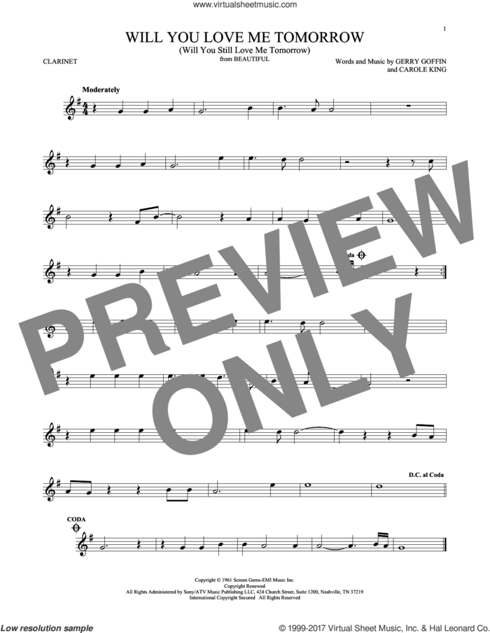 Will You Love Me Tomorrow (Will You Still Love Me Tomorrow) sheet music for clarinet solo by The Shirelles, Carole King and Gerry Goffin, intermediate skill level