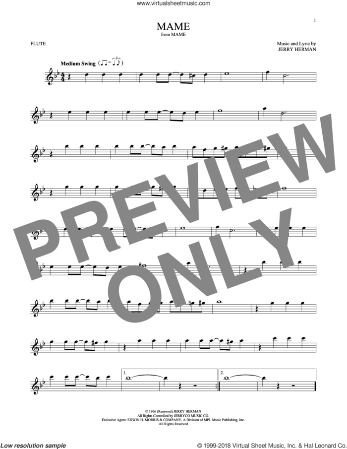 Mame sheet music for flute solo by Jerry Herman, intermediate skill level