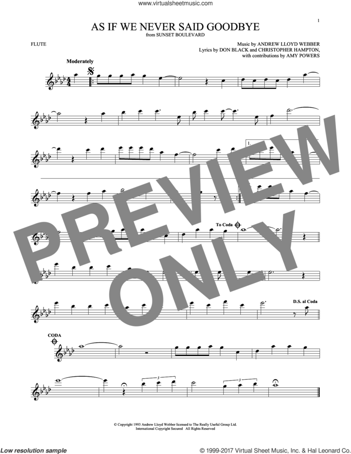 As If We Never Said Goodbye (from Sunset Boulevard) sheet music for flute solo by Andrew Lloyd Webber, Christopher Hampton and Don Black, intermediate skill level